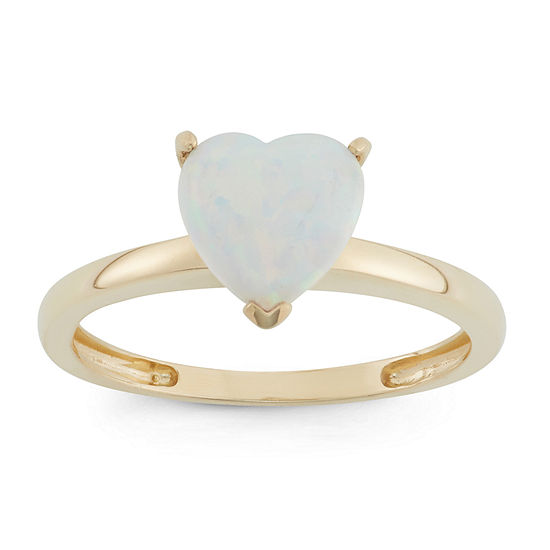 Womens Lab Created White Opal 10K Gold Heart Solitaire Cocktail Ring