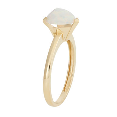 Womens White Opal 10K Gold Heart Cocktail Ring