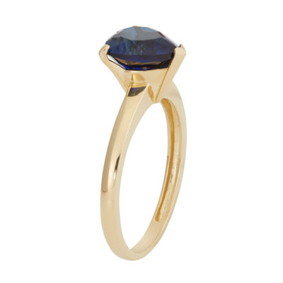 Womens Blue Sapphire 10K Gold Heart Cocktail Ring