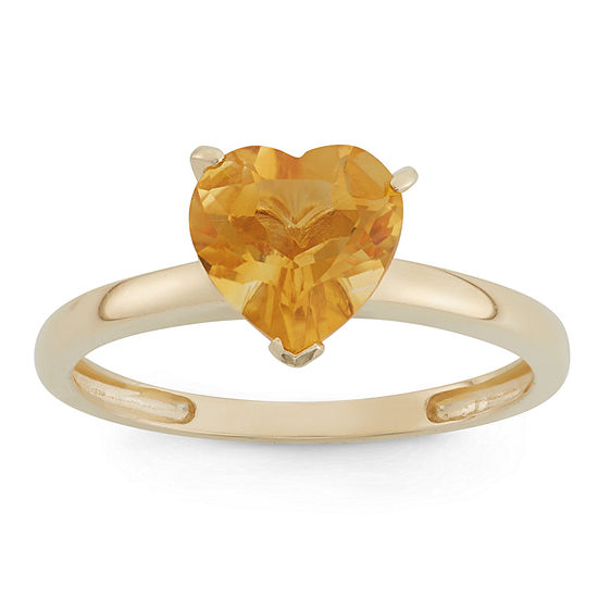 Womens Genuine Orange Citrine 10K Gold Heart Solitaire Cocktail Ring