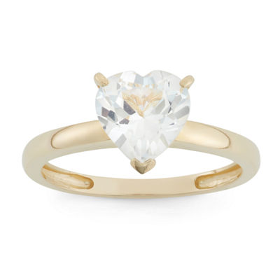 Womens Lab Created White Sapphire 10K Gold Cocktail Ring