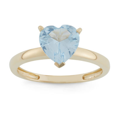 Womens Blue Aquamarine 10K Gold Heart Solitaire Cocktail Ring
