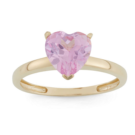 Womens Lab Created Pink Sapphire 10k Gold Heart Solitaire Cocktail Ring