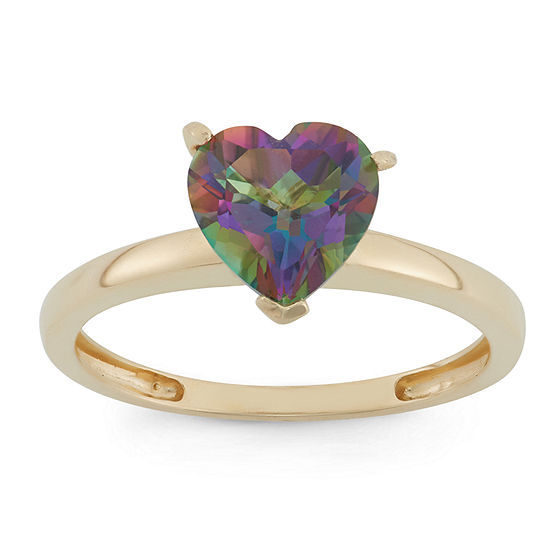 Womens Genuine Mystic Fire Topaz 10K Gold Heart Solitaire Cocktail Ring
