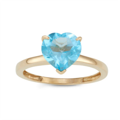 Womens Blue Topaz 10K Gold Heart Solitaire Cocktail Ring