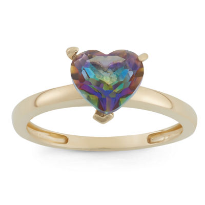 Womens Mystic Fire Topaz 10K Gold Heart Solitaire Cocktail Ring