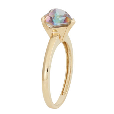 Womens Multi Color Topaz 10K Gold Heart Cocktail Ring