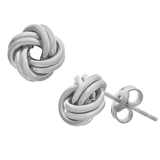 Made In Italy 14K White Gold 8.2mm Knot Stud Earrings
