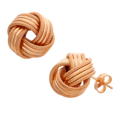 Made In Italy 14K Rose Gold 13.5mm Knot Stud Earrings