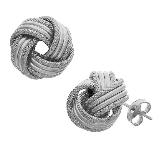 Made In Italy 14K White Gold 13.5mm Knot Stud Earrings