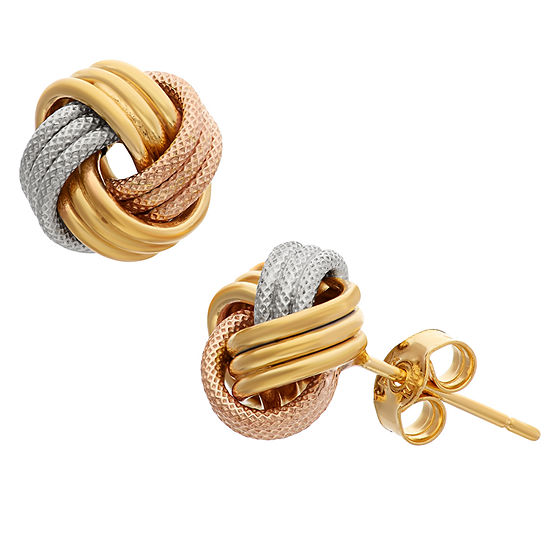 Made In Italy 14K Tri-Color Gold 9mm Knot Stud Earrings