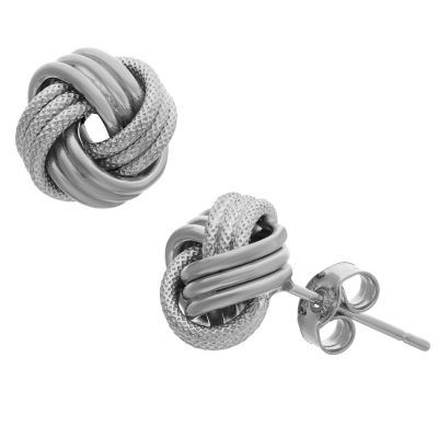 Made In Italy 14K White Gold 9mm Knot Stud Earrings