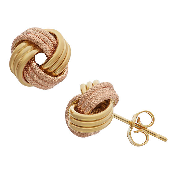 Made In Italy 14K Two Tone Gold 9mm Knot Stud Earrings