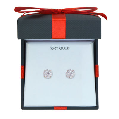 White Cubic Zirconia 10K Gold 6mm Stud Earrings