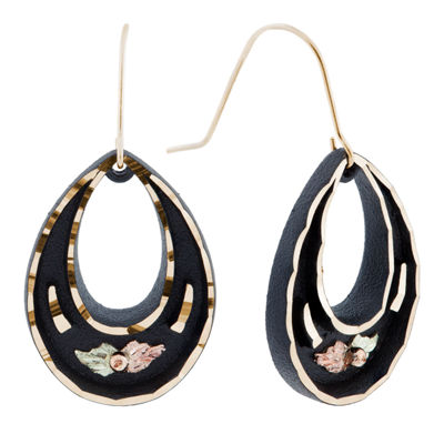 Black Hills Gold Brass Flower Drop Earrings