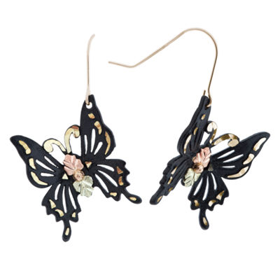 Black Hills Gold Brass Butterfly Drop Earrings