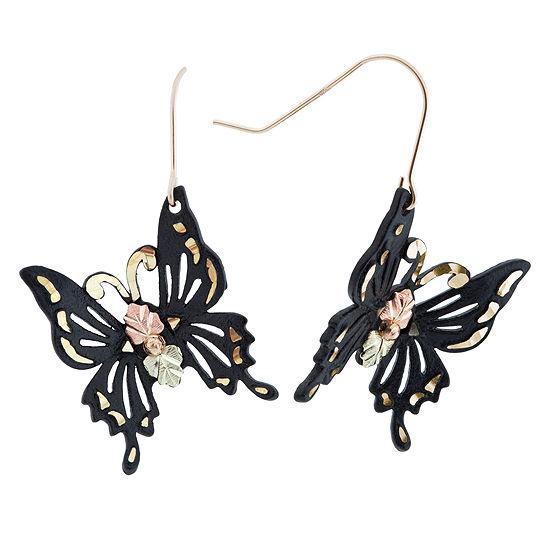 Black Hills Gold Butterfly Drop Earrings