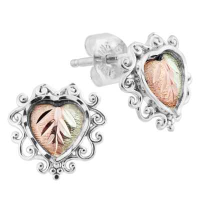 Black Hills Gold Sterling Silver 9.7mm Flower Stud Earrings