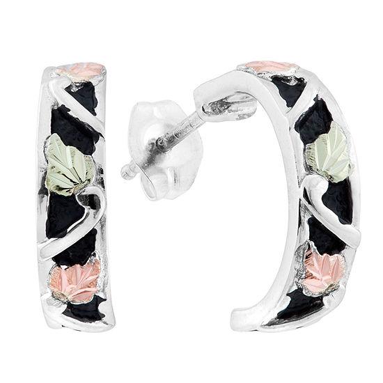Black Hills Gold Sterling Silver 15.9mm Flower Hoop Earrings