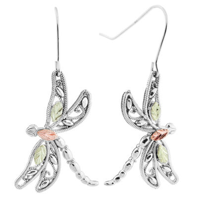 Black Hills Gold Sterling Silver Butterfly Drop Earrings