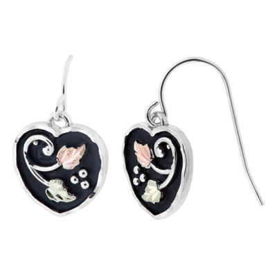 Black Hills Gold Sterling Silver Heart Drop Earrings