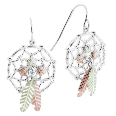 Black Hills Gold Sterling Silver Dream Catcher Drop Earrings
