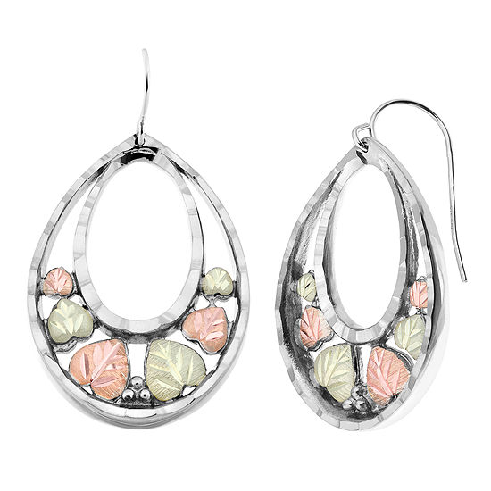 Black Hills Gold Sterling Silver Flower Drop Earrings