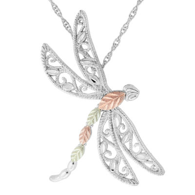 Black Hills Gold Womens Sterling Silver Butterfly Pendant
