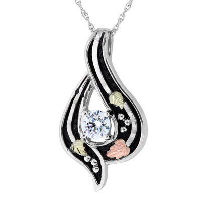 Black Hills Gold Womens White Cubic Zirconia Sterling Silver Flower Pendant