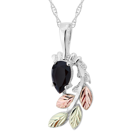 Black Hills Gold Womens Black Onyx Sterling Silver Flower Pendant