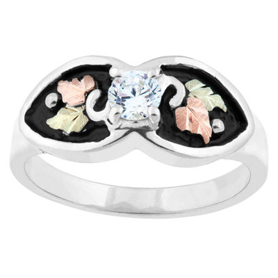 Black Hills Gold Womens White Cubic Zirconia Sterling Silver Flower Cocktail Ring