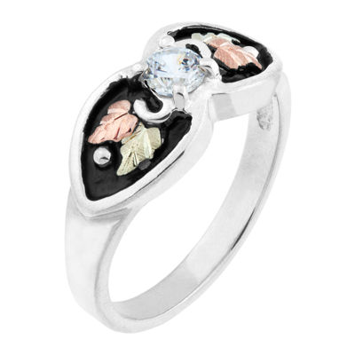 Black Hills Gold Womens White Cubic Zirconia Sterling Silver Cocktail Ring