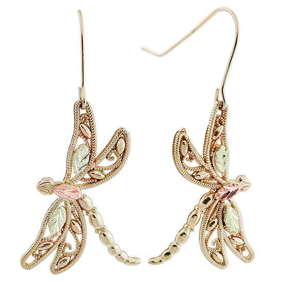 Black Hills Gold 10K Tri-Color Gold Butterfly Drop Earrings
