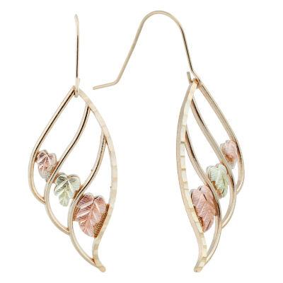 Black Hills Gold 10K Tri-Color Gold Flower Drop Earrings