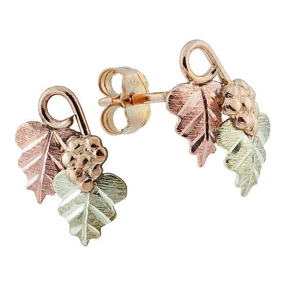 Black Hills Gold 10K Tri-Color Gold 10.1mm Flower Stud Earrings