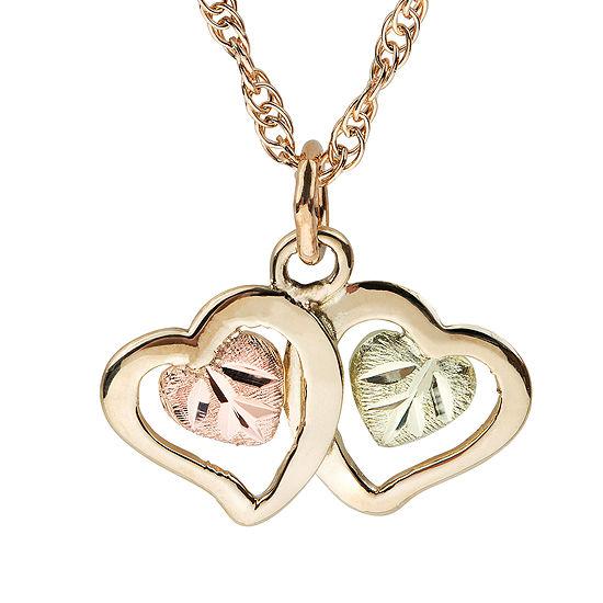Black Hills Gold Womens 10K Tri-Color Gold Heart Pendant