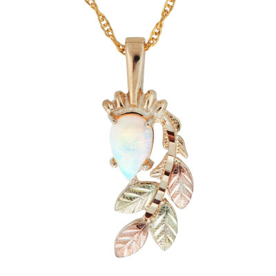 Black Hills Gold Womens White Opal 10K Tri-Color Gold Flower Pendant