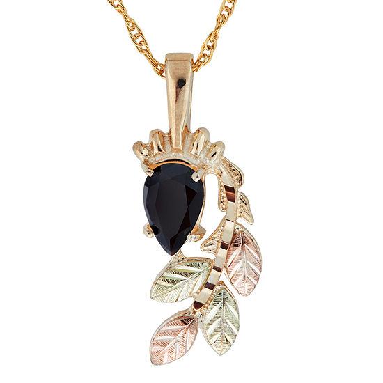 Black Hills Gold Womens Black Onyx 10k Tri Color Gold Flower Pendant