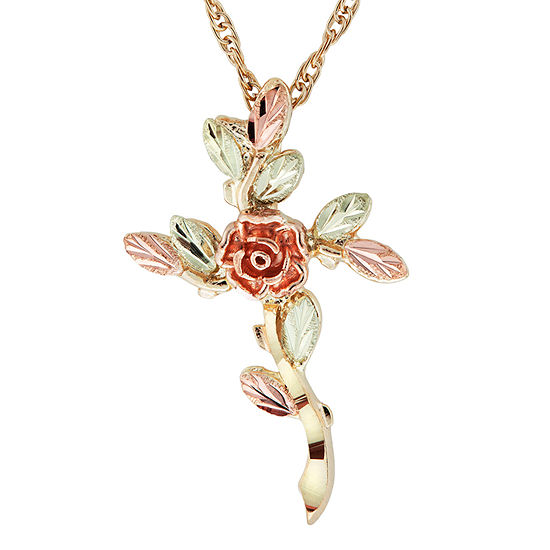 Black Hills Gold Womens 10K Tri-Color Gold Flower Pendant