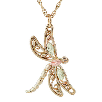 Black Hills Gold Womens 10K Tri-Color Gold Butterfly Pendant