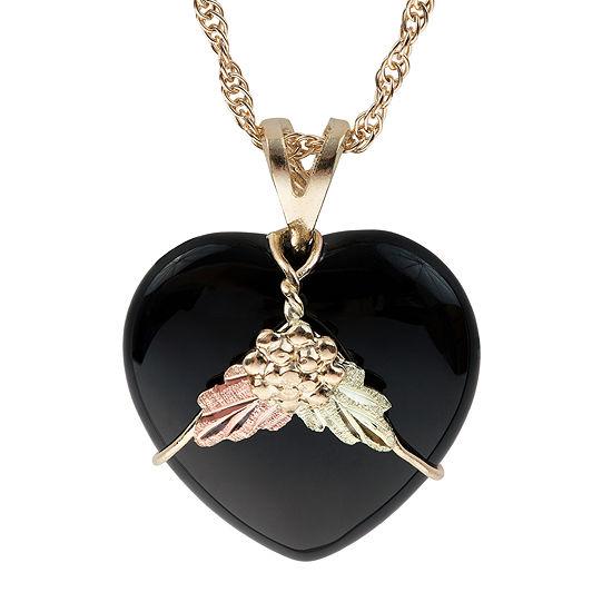 Black Hills Gold Womens Black Onyx 10k Tri Color Gold Heart Pendant