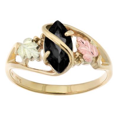 Black Hills Gold Womens Black Onyx 10K Tri-Color Gold Flower Cocktail Ring