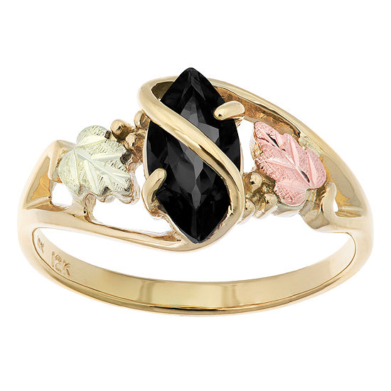 Black Hills Gold Womens Black Onyx 10K Tri-Color Gold Flower Cocktail Ring