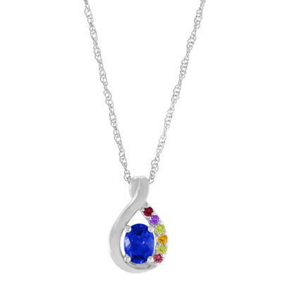 Artcarved Personalized Womens Multi Color Stone 10K White Gold Pendant Necklace
