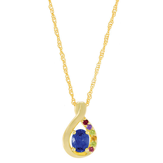 Artcarved Personalized Womens Multi Color Stone 14K Gold Pendant Necklace
