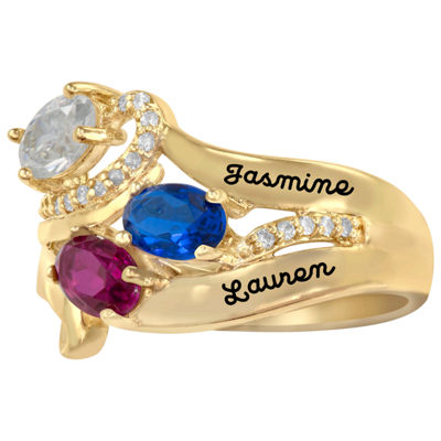 Artcarved Celebrations Of Life Womens 14.5mm Simulated Multi Color Stone 14K Gold Band