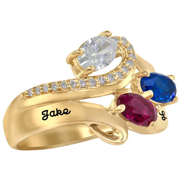 Artcarved Celebrations Of Life Womens Genuine Multi Color Stone 14K Gold Band
