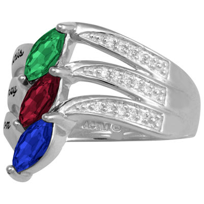 Artcarved Personalized Womens 17.5mm Multi Color Stone Sterling Silver Band