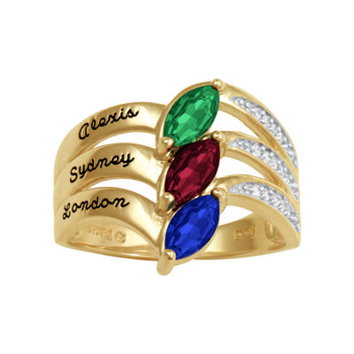 Artcarved Personalized Womens 17.5mm Multi Color Stone 10K Gold Band
