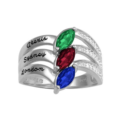 Artcarved Personalized Womens Genuine Multi Color Stone 14K Gold Band